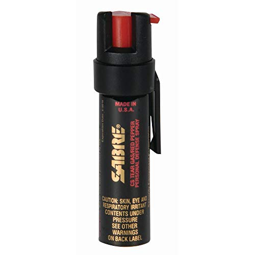 SABRE ADVANCED Compact Pepper Spray with Clip – 3-in-1 Formula (Pepper Spray, CS Tear Gas & UV Marking Dye), Police Strength Self Defense Spray, 10-foot (3 m) Range, 35 Bursts – Easy Access Belt Clip