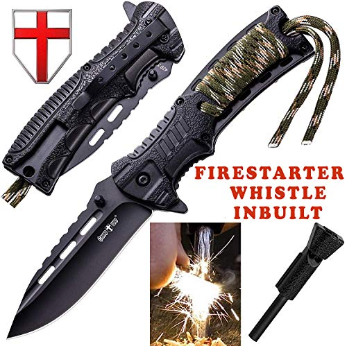 Folding Knife - EDC and Tactical Pocket Knives Stainless Steel Blade with Wooden Handle Metal Clip - Best Urban Tourist Knife for Travel Hiking Survival - Grand Way S 29 …