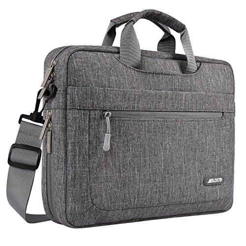 MOSISO Polyester Messenger Shoulder Bag with Adjustable Depth at Bottom Compatible with 13-13.3 Inch Laptop, Pure Gray